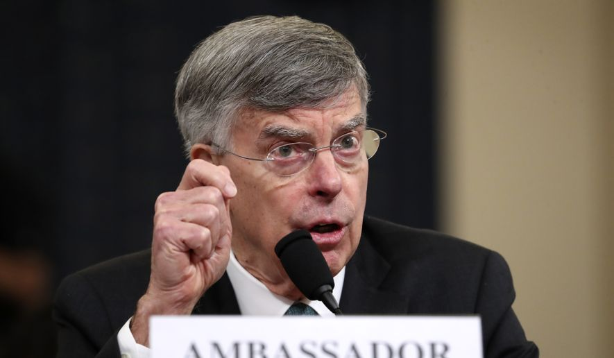 Top U.S. diplomat in Ukraine William Taylor testifies before the House Intelligence Committee on Capitol Hill in Washington, Wednesday, Nov. 13, 2019, during the first public impeachment hearing of President Donald Trump's efforts to tie U.S. aid for Ukraine to investigations of his political opponents. (AP Photo/Andrew Harnik)