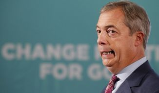 Brexit party leader Nigel Farage campaigns in Hartlepool, England, Monday, Nov. 11, 2019. Hartlepool has elected lawmakers from the left-of-center Labour Party for more than half a century. But in 2016, almost 70% of voters here backed leaving the European Union. More than three years later, the U.K. is still an EU member, and loyalty to Labour has been eroded by frustration. (AP Photo/Frank Augstein)