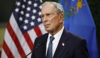 In this Feb. 26, 2019, file photo, former New York City Mayor Michael Bloomberg speaks at a news conference at a gun control advocacy event in Las Vegas. (AP Photo/John Locher) ** FILE **