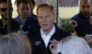 Sports agent Scott Boras speaks to the media after a session of the Major League Baseball general managers annual meetings, Wednesday, Nov. 13, 2019, in Scottsdale, Ariz. (AP Photo/Matt York)