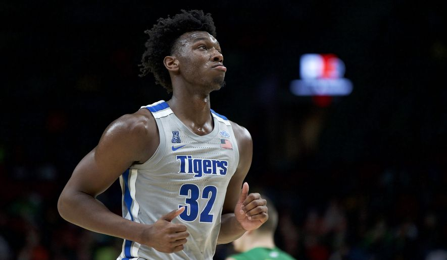 Memphis center James Wiseman runs off the court during the second half of an NCAA college basketball game against Oregon in Portland, Ore., Tuesday, Nov. 12, 2019. Oregon won 82-74. (AP Photo/Craig Mitchelldyer) ** FILE **