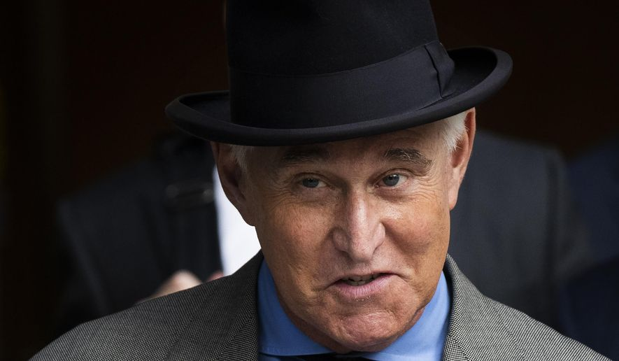 """Roger Stone leaves federal court Washington, Tuesday, Nov. 12, 2019. Stone, a longtime Republican provocateur and former confidant of President Donald Trump, wanted to contact Jared Kushner in order to """"debrief"""" the president's son-in-law about hacked emails that were damaging to Hillary Clinton during the 2016 presidential campaign, a former Trump campaign aide said Tuesday. (AP Photo/Manuel Balce Ceneta)"""