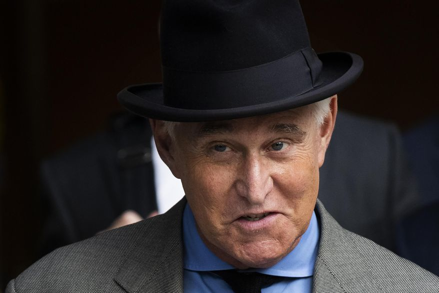 Roger Stone leaves federal court Washington, Tuesday, Nov. 12, 2019. (AP Photo/Manuel Balce Ceneta)