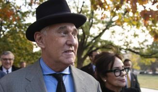 "Roger Stone with his wife Nydia Stone, right, leave federal court Washington, Tuesday, Nov. 12, 2019. Stone, a longtime Republican provocateur and former confidant of President Donald Trump, wanted to contact Jared Kushner in order to ""debrief"" the president's son-in-law about hacked emails that were damaging to Hillary Clinton during the 2016 presidential campaign, a former Trump campaign aide said Tuesday. (AP Photo/Manuel Balce Ceneta)"