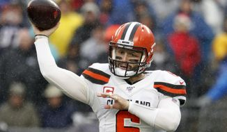 FILE - In this Oct. 27, 2019, file photo, Cleveland Browns quarterback Baker Mayfield passes during an NFL football game against the New England Patriots, in Foxborough, Mass. The Pittsburgh Steelers play at the Cleveland Browns on Thursday, Nov. 14. (AP Photo/Winslow Townson, File)