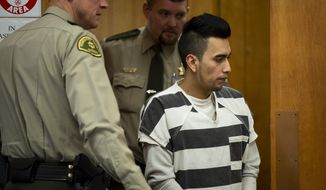 Cristhian Bahena Rivera appears for an evidence suppression hearing at the Poweshiek County Courthouse, Wednesday, Nov. 13, 2019 in Montezuma, Ioea. Bahena Rivera confessed to killing Molly Tibbetts last year, but his attorneys filed a motion to suppress the confession because he was not properly read his Miranda warning during initial interviews with police. Rivera is scheduled to stand trial for first-degree murder in February. (Brian Powers/The Des Moines Register via AP)