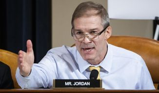 Rep. Jim Jordan, R-Ohio, speaks during a House Intelligence Committee hearing on Capitol Hill in Washington, Wednesday, Nov. 13, 2019, during the first public impeachment hearing of President Donald Trump's efforts to tie U.S. aid for Ukraine to investigations of his political opponents. (Jim Lo Scalzo/Pool Photo via AP)