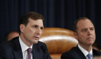 Daniel Goldman, director of investigations for the House Intelligence Committee majority staff, left, asks questions to top U.S. diplomat in Ukraine William Taylor and career Foreign Service officer George Kent, as they testify before the House Intelligence Committee on Capitol Hill in Washington, Wednesday, Nov. 13, 2019, during the first public impeachment hearing of President Donald Trump's efforts to tie U.S. aid for Ukraine to investigations of his political opponents. House Intelligence Committee Chairman Rep. Adam Schiff, D-Calif., right, looks on. (AP Photo/Alex Brandon)