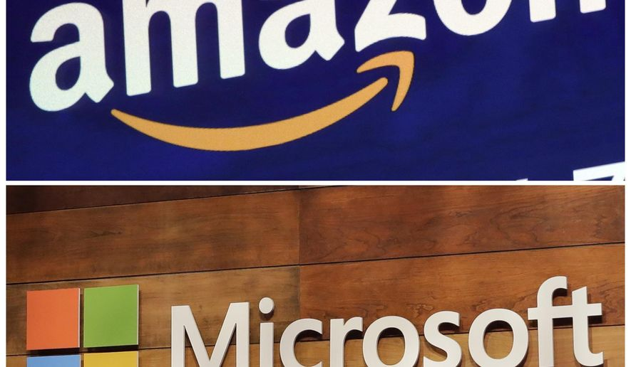 """This combination of file photos shows the logos for Amazon, top, and Microsoft. Amazon protested the Pentagon's decision in the Trump presidency to award a huge cloud-computing contract to Microsoft, citing """"unmistakable bias"""" in the decision. But on July 6, 2021, the Pentagon announced it was dropping the Microsoft contract, electing to go a different route to fulfill its cloud computing needs.  (AP Photo/Richard Drew and Ted S. Warren, File)"""