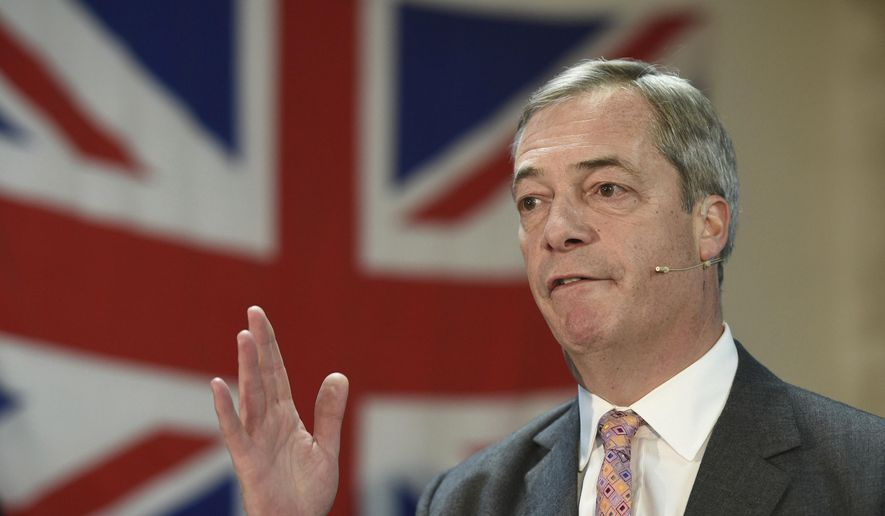 Brexit Party leader Nigel Farage speaks during a party rally, as part of General Election campaign trail, in Ilford, Essex, England,  Wednesday, Nov. 13,2019. Britain goes to the polls on Dec. 12.  (Joe Giddens/PA via AP)