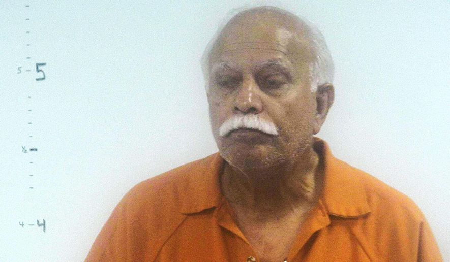 This undated photo provided by Western Tidewater Regional Jail shows Dr. Javaid Perwaiz.  Federal prosecutors have accused Perwaiz of performing unnecessary, unwanted or unknown gynecological procedures on some of his patients.  Perwaiz is due in U.S. District Court in Norfolk Thursday, Nov. 14, 2019 for a detention hearing. He was charged last week with health care fraud and making false statements relating to health care matters. (Western Tidewater Regional Jail via AP)