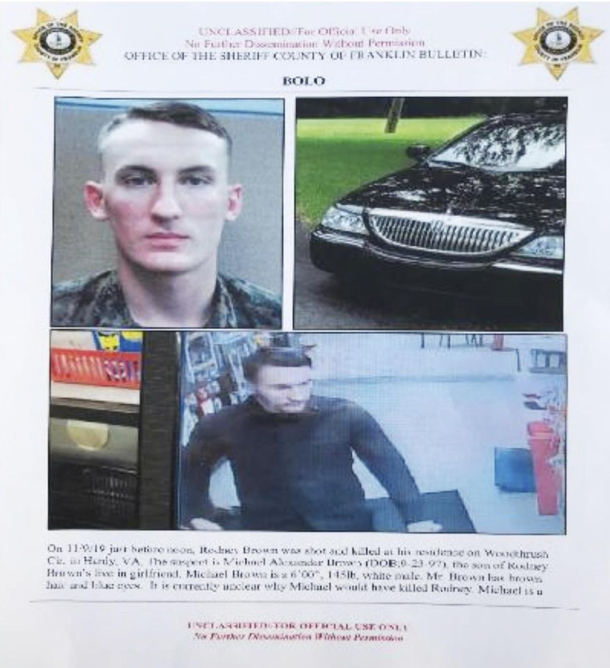 In this undated image released by the Franklin County (Va.) Sheriff's Office, U.S. Marine Michael Alexander Brown is shown. Roanoke Police Chief Tim Jones has closed all the city schools in Roanoke, Va. Thursday, Nov. 14, 2019, and warned people to lock their doors after spotting a vehicle linked to Brown, a Marine deserter who is wanted for questioning in a murder case. (Franklin County (Va.) Sheriff's Office via AP)
