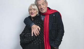 "This Nov. 3, 2019 photo shows actors Helen Mirren, left, and Ian McKellan pose for a portrait to promote their film ""The Good Liar"" in New York. (Photo by Christopher Smith/Invision/AP)"