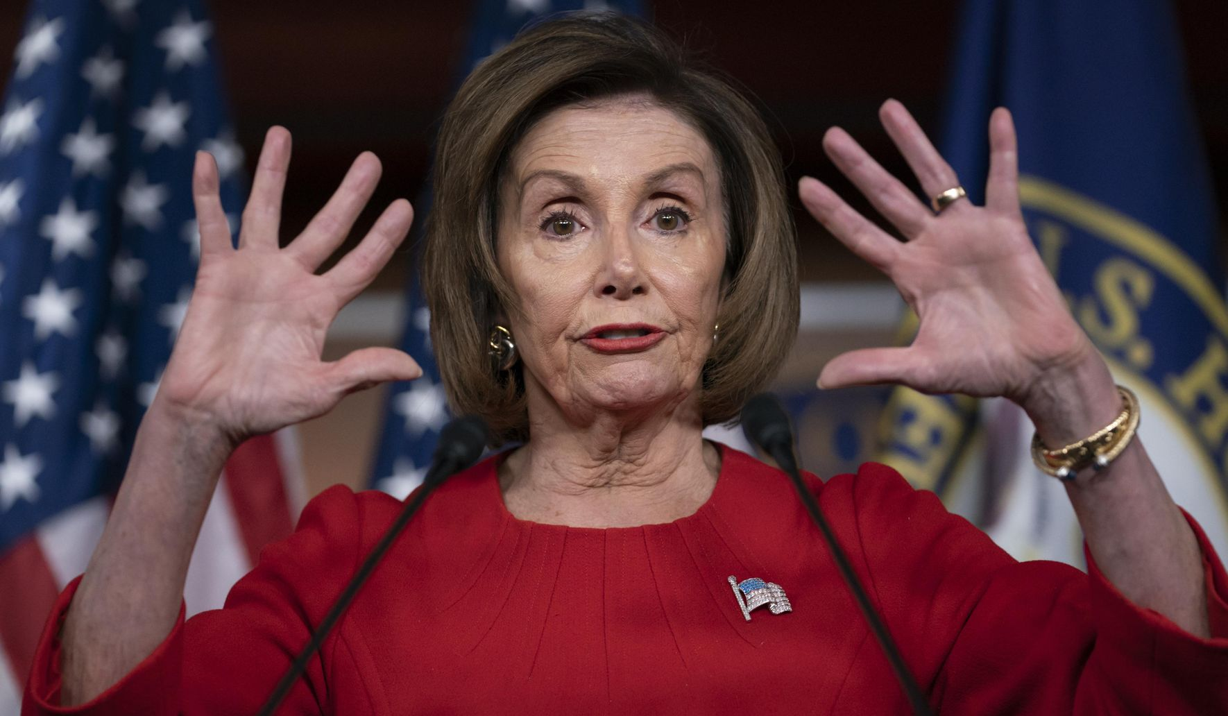 Nancy Pelosi goes for slam dunk -- and crashes to floor