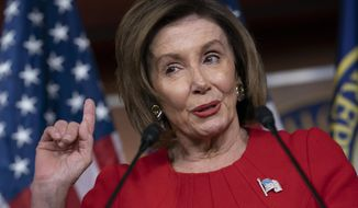 """House Speaker Nancy Pelosi, California Democrat, now says the president's actions in the impeachment inquiry amount to """"bribery."""" (Associated Press/File)"""