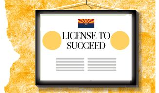 Illustration on business licencing in Arizona by Alexander Hunter/The Washington Times