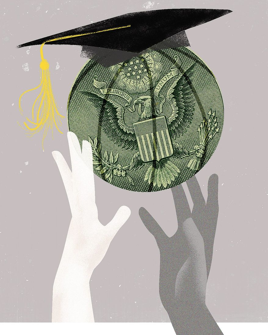 Illustration on pay for student athletes by Linas Garsys/The Washington Times