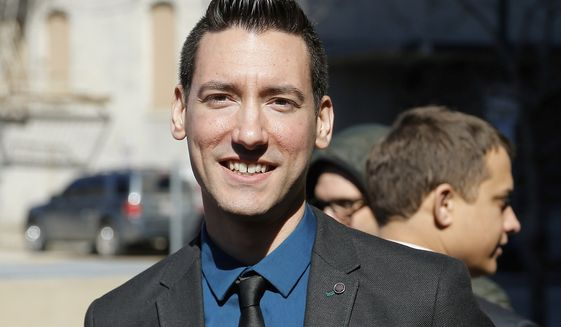 FILE - In this Feb. 4, 2016, file photo, David Daleiden, one of two indicted anti-abortion activists, speaks with supporters outside the Harris County Criminal Courthouse in Houston. A federal jury on Friday, Nov. 15, 2019, has found that Daleiden, an anti-abortion activist, illegally secretly recorded workers at Planned Parenthood clinics and is liable for violating federal and state laws.  (AP Photo/Bob Levey, File)
