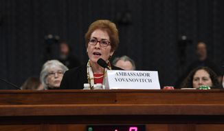 Former U.S. Ambassador to Ukraine Marie Yovanovitch testifies before the House Intelligence Committee on Capitol Hill in Washington, Friday, Nov. 15, 2019, in the second public impeachment hearing of President Donald Trump's efforts to tie U.S. aid for Ukraine to investigations of his political opponents. (AP Photo/Susan Walsh)