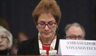 Former U.S. Ambassador to Ukraine Marie Yovanovitch testifies before the House Intelligence Committee on Capitol Hill in Washington, Friday, Nov. 15, 2019, during the second public impeachment hearing of President Donald Trump's efforts to tie U.S. aid for Ukraine to investigations of his political opponents. (AP Photo/Andrew Harnik)