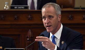 Rep. Sean Patrick Maloney, D-N.Y., questions former U.S. Ambassador to Ukraine Marie Yovanovitch before the House Intelligence Committee on Capitol Hill in Washington, Friday, Nov. 15, 2019, during the second public impeachment hearing of President Donald Trump's efforts to tie U.S. aid for Ukraine to investigations of his political opponents. (AP Photo/Susan Walsh) ** FILE **