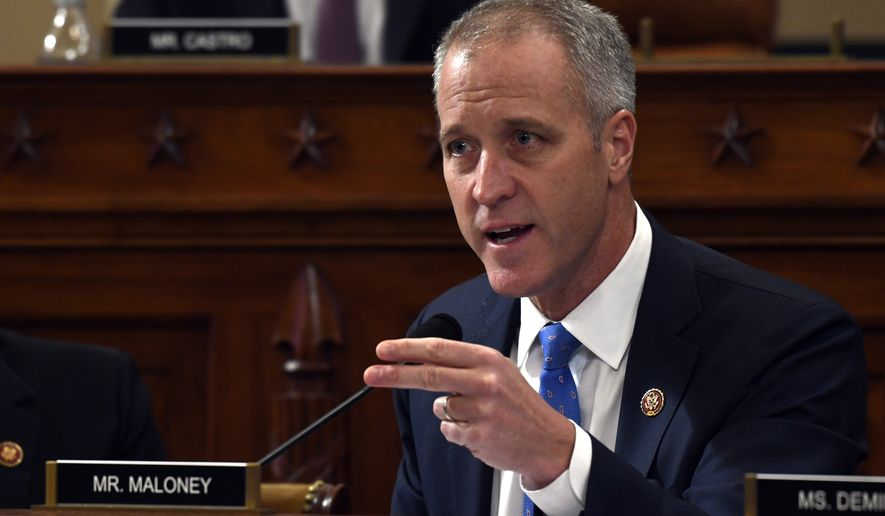 Rep. Sean Patrick Maloney, D-N.Y., questions former U.S. Ambassador to Ukraine Marie Yovanovitch before the House Intelligence Committee on Capitol Hill in Washington, Friday, Nov. 15, 2019, during the second public impeachment hearing of President Donald Trump's efforts to tie U.S. aid for Ukraine to investigations of his political opponents. (AP Photo/Susan Walsh)