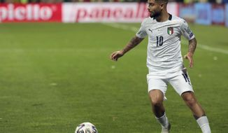 Italy's Lorenzo Insigne controls the ball during the Euro 2020 group J qualifying soccer match between Bosnia-Herzegovina and Italy at the Bilino polje stadium in Zenica, Bosnia, Friday, Nov. 15, 2019. (AP Photo/Kemal Softic)