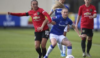 Everton's Lucy Graham, right, and Manchester United's Katie Zelem battle for the ball during the FA Women's Continental League Cup match at Haig Avenue, Liverpool, England, Sunday Nov. 3, 2019. (Nigel French/PA via AP)