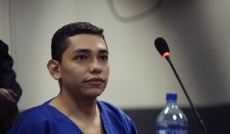 FILE - In this Oct. 11, 2019 file photo, Orlando Tercero appears in court during his trial in Managua, Nicaragua. Moreno is accused of killing 22-year-old U.S. nursing student Haley Anderson in 2018. A Nicaraguan judge sentenced Tercero to 30 years behind bars in the killing of the young nursing student in upstate New York, a district attorney said Friday, Nov. 15, 2019. (AP Photo/Oscar Duarte, File)