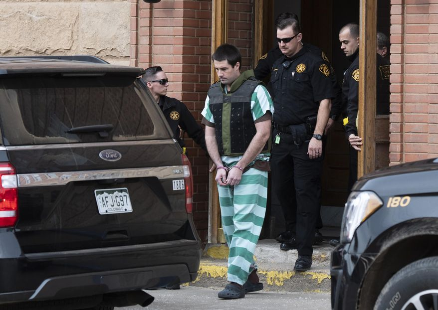 FILE - In this April 5, 2019, file photo, Teller County Sheriff deputies lead Patrick Frazee out of the Teller County Courthouse in Cripple Creek, Colo. The murder trial of a Colorado rancher accused of beating his fiancée to death while their 1-year-old daughter was nearby is coming to an end with jurors expected to hear closing arguments on Friday, Nov. 15, 2019. Then it will be up to the jury to decide whether to convict Patrick Frazee of killing 29-year-old flight instructor Kelsey Berreth and burning her body. (Christian Murdock/The Gazette via AP, File)