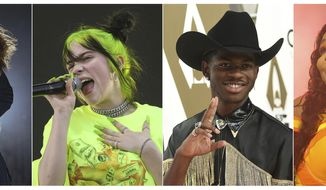 This combination photo shows, from left, Scottish singer Lewis Capaldi, Billie Eilish, rapper Lil Nas X  and Lizzo, who are predicted to earn Grammy nominations in key categories, from album of the year to record and song of the year. Nominations for the 62nd annual Grammys will be announced on Nov. 20. (AP Photo)