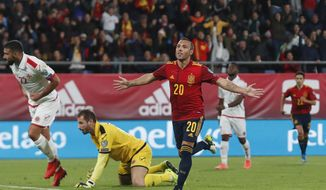 Spain's Santi Cazorla celebrates after scoring his side's second goal during a Euro 2020 Group F qualifying soccer match between Spain and Malta at the Ramon de Carranza stadium in Cadiz, Spain, Friday Nov. 15, 2019. (AP Photo/Miguel Morenatti)