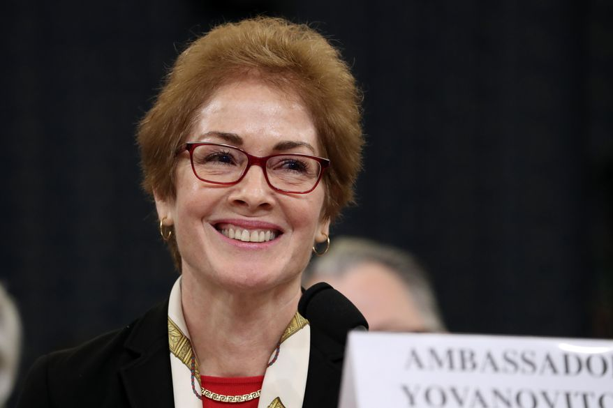 Former U.S. Ambassador to Ukraine Marie Yovanovitch testified on national television about her opinions of President Trump. (Associated Press/File)