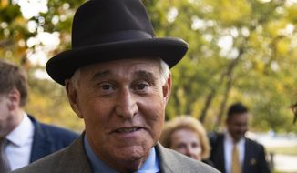 "Roger Stone leaves the federal court Washington, Tuesday, Nov. 12, 2019. Stone, a longtime Republican provocateur and former confidant of President Donald Trump, wanted to contact Jared Kushner in order to ""debrief"" the president's son-in-law about hacked emails that were damaging to Hillary Clinton during the 2016 presidential campaign, a former Trump campaign aide said Tuesday. (AP Photo/Manuel Balce Ceneta)"