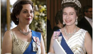 """This combination of photos shows Olivia Colman portraying Queen Elizabeth II in a scene from the third season of """"The Crown,"""" left, and Queen Elizabeth II at the Sydney Opera House in Sydney, Australia on Oct. 20, 1973. The popular series based on the British royal family debuts Sunday on Netflix. (Netflix, left, and AP Photo)"""