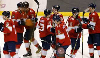 Florida Panthers players celebrate their win over the New York Rangers in an NHL hockey game, Saturday, Nov. 16, 2019, in Sunrise, Fla. (AP Photo/Joe Skipper)