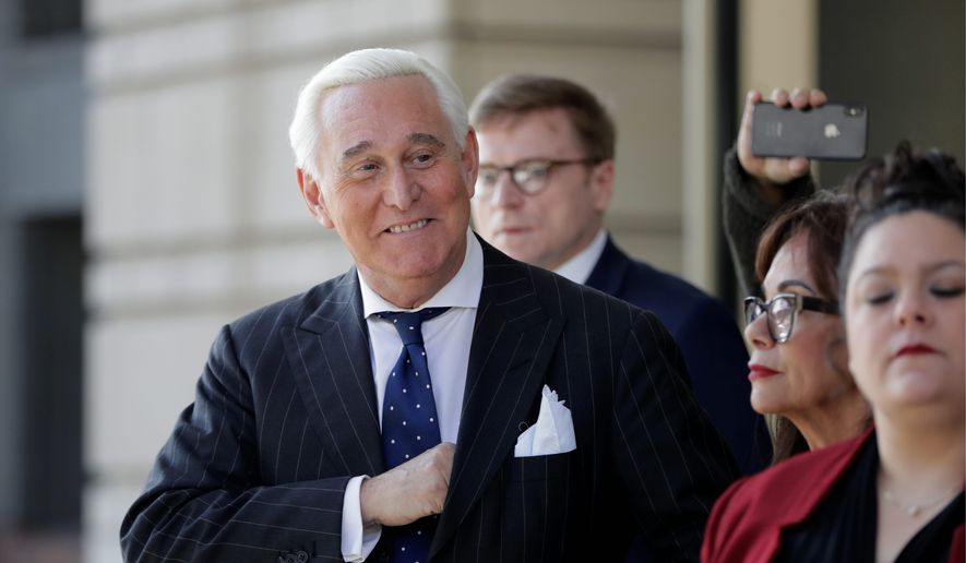 Former Trump adviser Roger Stone is petitioning for a new trial, and a possible presidential pardon looms over the proceedings. (Associated Press) **FILE**