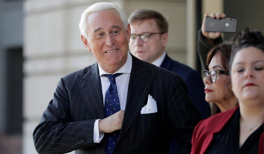 """Roger Stone's trial drew in a parade of """"alt-right"""" and other conservative personalities to show their support. Stone was convicted Friday on seven criminal counts, including obstruction, perjury and witness tampering. (Associated Press)"""