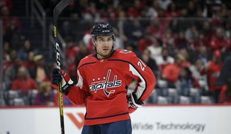 Washington Capitals right wing Garnet Hathaway (21) stands on the ice during the second period of an NHL hockey game against the Montreal Canadiens, Friday, Nov. 15, 2019, in Washington. (AP Photo/Nick Wass) ** FILE **