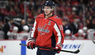 Washington Capitals center Nicklas Backstrom (19), of Sweden, stands on the ice during the second period of an NHL hockey game against the Montreal Canadiens, Friday, Nov. 15, 2019, in Washington. (AP Photo/Nick Wass) ** FILE **
