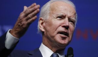 Former Vice President and Democratic presidential candidate Joe Biden speaks during a fundraiser for the Nevada Democratic Party, Sunday, Nov. 17, 2019, in Las Vegas. (AP Photo/John Locher)