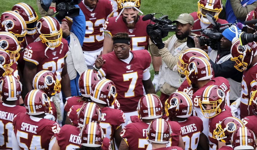 Washington Redskins quarterback Dwayne Haskins (7) speaks to his team prior to an NFL football game between the New York Jets and Washington Redskins, Sunday, Nov. 17, 2019, in Landover, Md. (AP Photo/Mark Tenally)