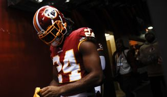 Washington Redskins cornerback Josh Norman (24) walk onto the field before the first half of an NFL football game between the Washington Redskins and the New York Jets Sunday, Nov. 17, 2019, in Landover, Md. (AP Photo/Patrick Semansky) ** FILE **