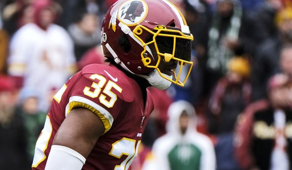Washington Redskins strong safety Montae Nicholson looks toward the line of scrimmage during an NFL football game against the New York Jets, Sunday, Nov. 17, 2019, in Landover, Md. (AP Photo/Mark Tenally) ** FILE **