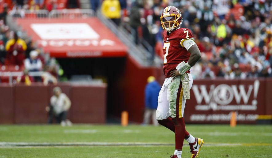 Washington Redskins quarterback Dwayne Haskins (7) walks off the field during the second half of an NFL football game against the New York Jets, Sunday, Nov. 17, 2019, in Landover, Md. (AP Photo/Patrick Semansky)