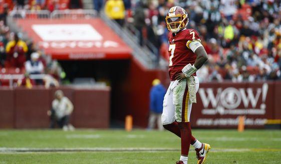 Washington Redskins quarterback Dwayne Haskins (7) walks off the field during the second half of an NFL football game against the New York Jets, Sunday, Nov. 17, 2019, in Landover, Md. (AP Photo/Patrick Semansky)