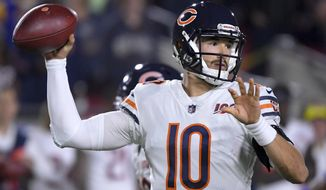 Chicago Bears quarterback Mitchell Trubisky passes against the Los Angeles Rams during the first half of an NFL football game Sunday, Nov. 17, 2019, in Los Angeles. (AP Photo/Mark J. Terrill)