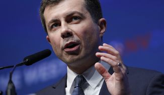 Democratic presidential candidate South Bend, Ind., Mayor Pete Buttigieg speaks during a fundraiser for the Nevada Democratic Party, Sunday, Nov. 17, 2019, in Las Vegas. (AP Photo/John Locher)