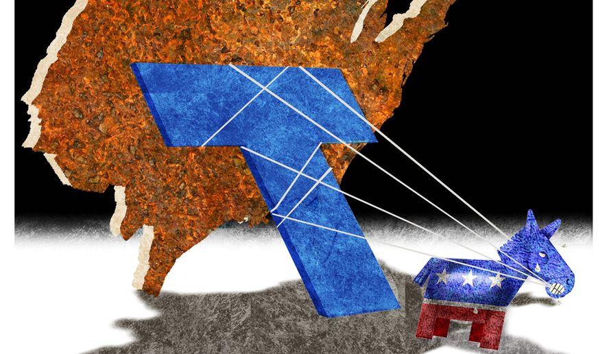 Illustration on Democrat desperation to undo Trump by Alexander Hunter/The Washington Times