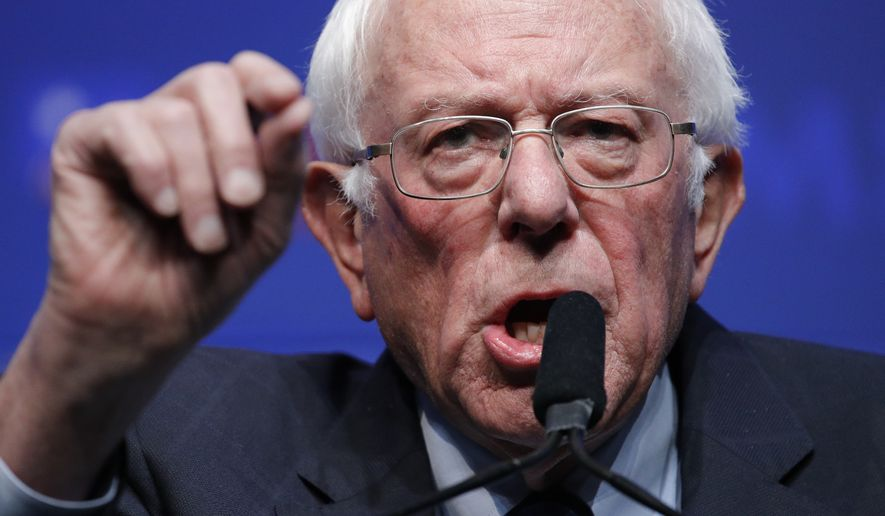 Democratic presidential candidate Sen. Bernie Sanders, I-Vt., speaks during a fundraiser for the Nevada Democratic Party, Sunday, Nov. 17, 2019, in Las Vegas. (AP Photo/John Locher)